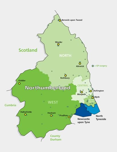 Northumberland CCG area map